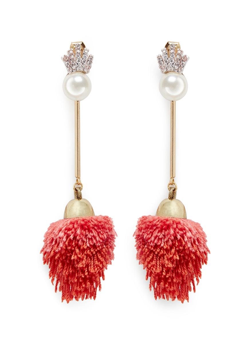 Detachable pearl stud pompom drop earrings by Venna