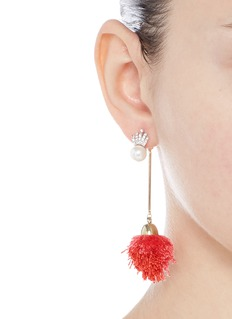 Venna Detachable pearl stud pompom drop earrings