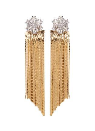 Main View - Click To Enlarge - Venna - Glass crystal snowflake fringe drop jacket earrings