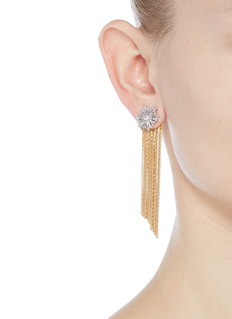 Venna Glass crystal snowflake fringe drop jacket earrings