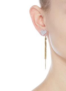 VennaGlass crystal heart tassel drop jacket earrings