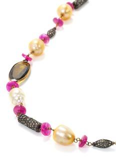 Aishwarya Diamond gemstone gold alloy station necklace