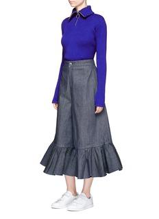 Shushu/TongRuffle cuff cropped wide leg denim pants
