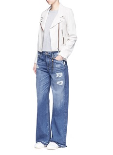 Tortoise 'Clemmys' distressed wide leg jeans