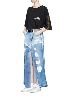 Tortoise 'Manani' distressed patchwork vintage denim skirt