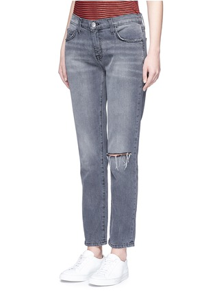 Front View - Click To Enlarge - Current/Elliott - 'The Fling' knee slit cropped boyfriend jeans