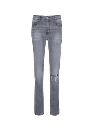 Main View - Click To Enlarge - Current/Elliott - 'The Fling' knee slit cropped boyfriend jeans