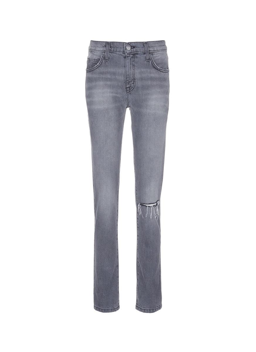 The Fling knee slit cropped boyfriend jeans by Current/Elliott