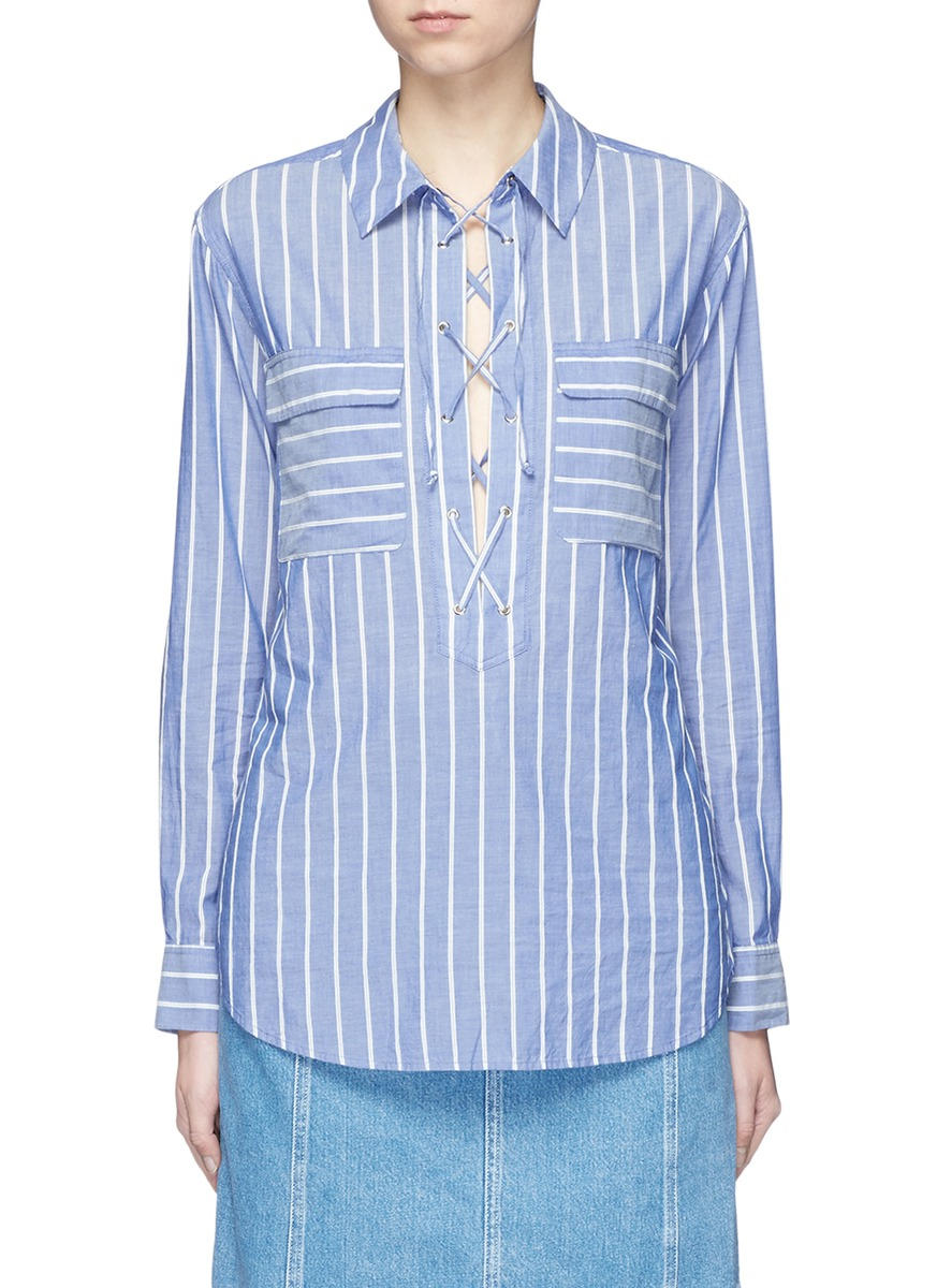Knox stripe lace-up cotton shirt by Equipment
