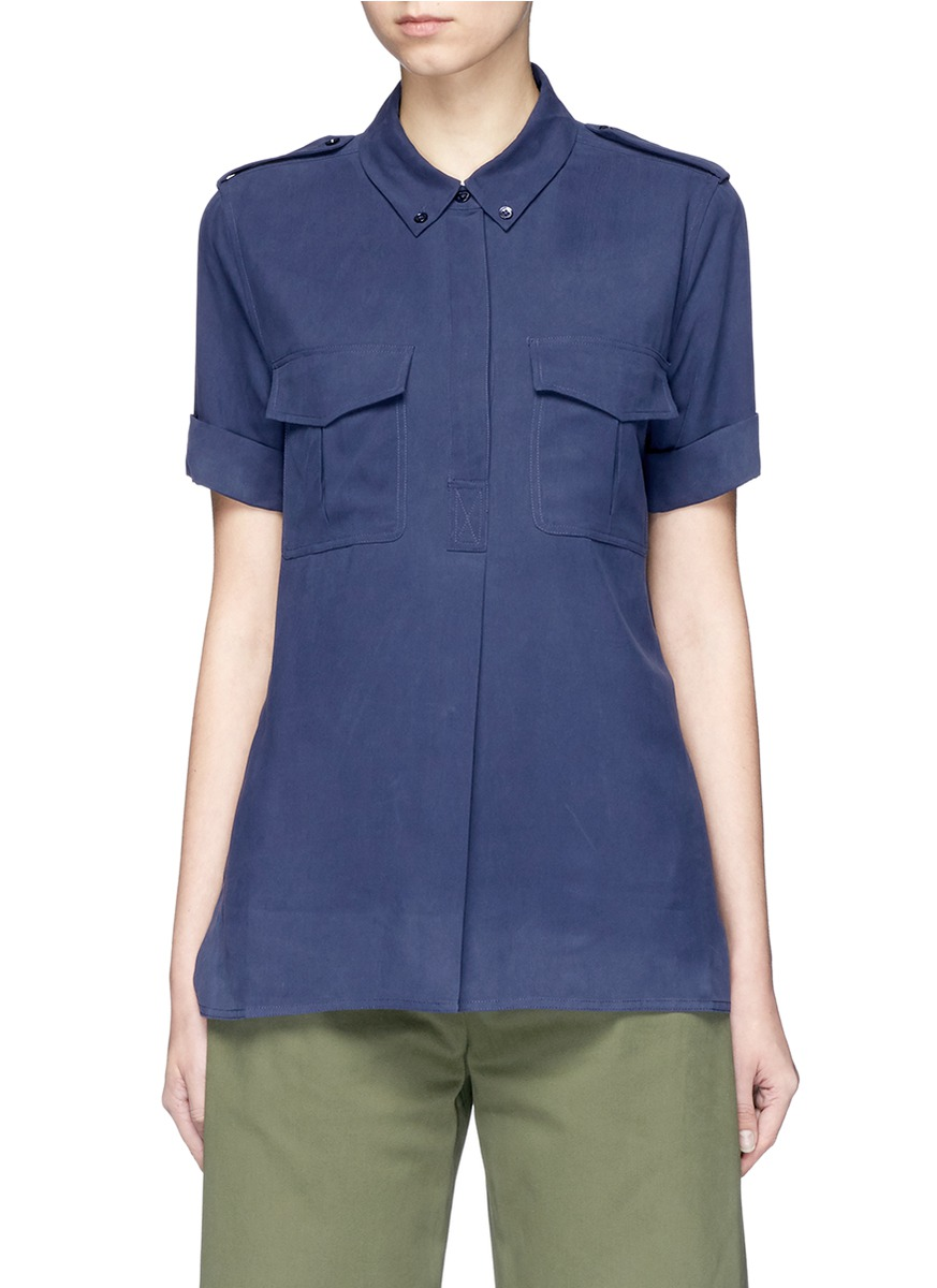 Rory silk short sleeve shirt by Equipment