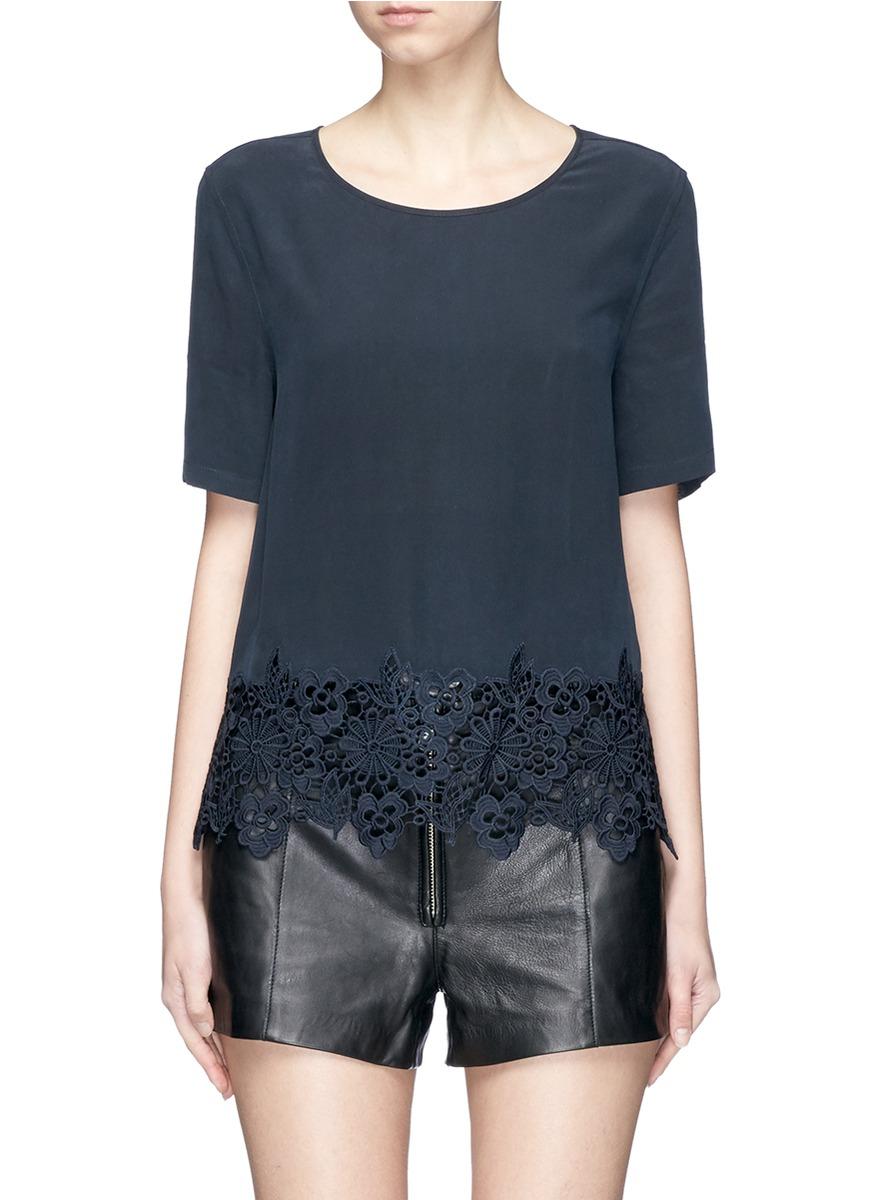Brynn lace hem silk T-shirt by Equipment