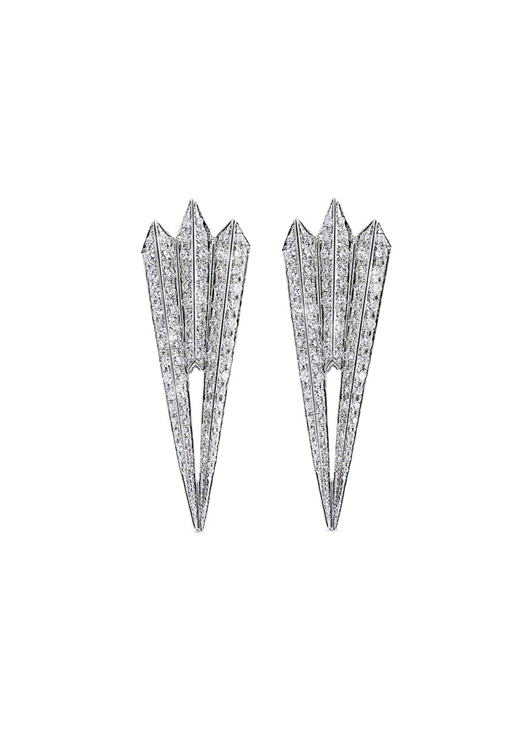 Shimmer I diamond 18k white gold fan earrings by Melville Fine Jewellery