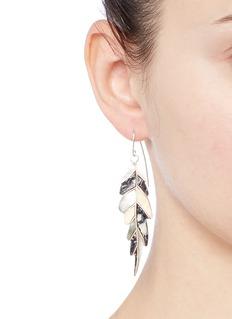 Niin'Ajei' mixed shell feather drop earrings