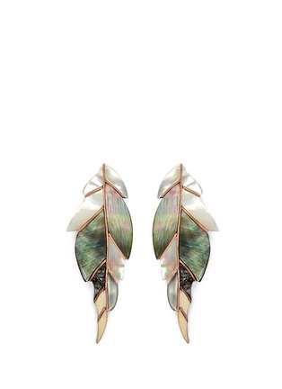 Main View - Click To Enlarge - Niin - 'Ajei' mixed shell feather stud earrings