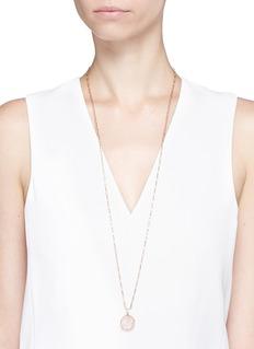 Niin'Ajei' carved Star of David rose quartz necklace