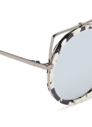 Detail View - Click To Enlarge - Stephane + Christian - 'Reo' wire cat ear shell effect acetate mirror sunglasses