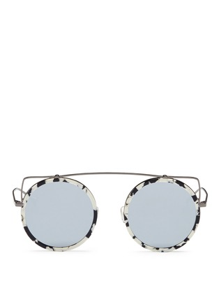 Main View - Click To Enlarge - Stephane + Christian - 'Reo' wire cat ear shell effect acetate mirror sunglasses