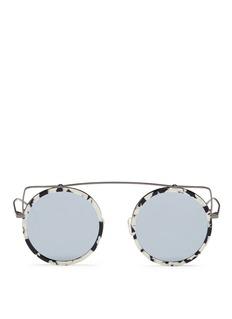 Stephane + Christian'Reo' wire cat ear shell effect acetate mirror sunglasses
