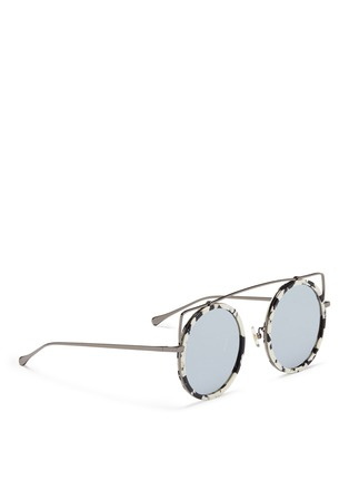 Figure View - Click To Enlarge - Stephane + Christian - 'Reo' wire cat ear shell effect acetate mirror sunglasses