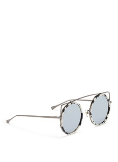 Stephane + Christian 'Reo' wire cat ear shell effect acetate mirror sunglasses