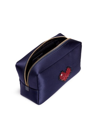 Detail View - Click To Enlarge - Anya Hindmarch - Heart embellished satin cosmetics pouch