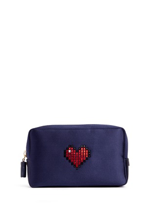Main View - Click To Enlarge - Anya Hindmarch - Heart embellished satin cosmetics pouch