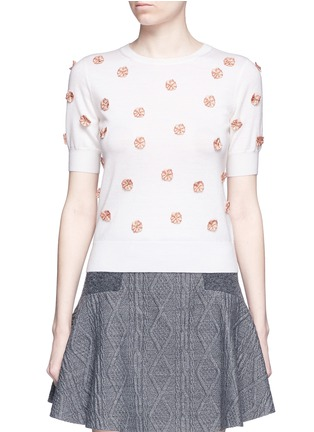 Main View - Click To Enlarge - alice + olivia - 'Judy' floral embroidery wool sweater