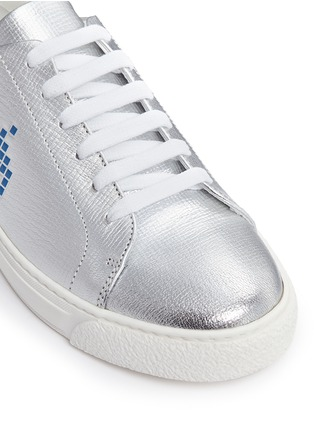 Detail View - Click To Enlarge - Anya Hindmarch - 'Space Invaders' embossed metallic leather sneakers