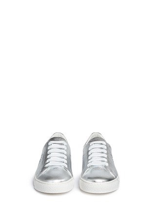 Front View - Click To Enlarge - Anya Hindmarch - 'Space Invaders' embossed metallic leather sneakers