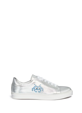 Main View - Click To Enlarge - Anya Hindmarch - 'Space Invaders' embossed metallic leather sneakers