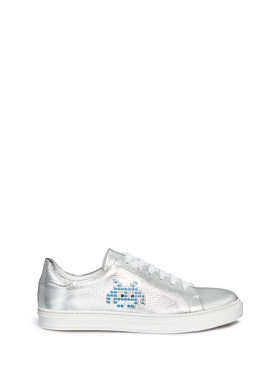 Space Invaders embossed metallic leather sneakers by Anya Hindmarch