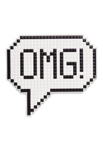'OMG' oversize embossed leather sticker