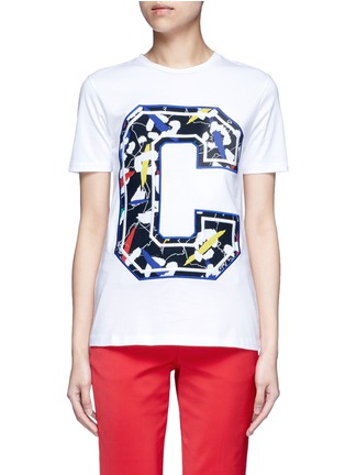 Etre Cecile  - 'Big C' abstract leopard print embroidery T-shirt