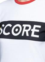'Score' colourblock sleeve cotton jersey T-shirt