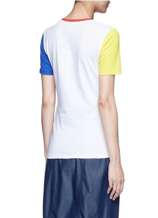 Back View - Click To Enlarge - Etre Cecile  - 'Score' colourblock sleeve cotton jersey T-shirt