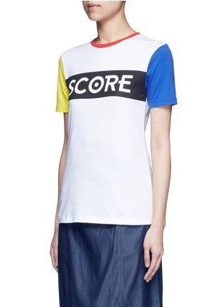 Front View - Click To Enlarge - Etre Cecile  - 'Score' colourblock sleeve cotton jersey T-shirt
