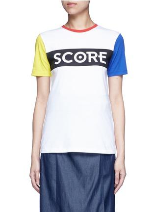 Etre Cecile -'Score' colourblock sleeve cotton jersey T-shirt
