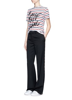 Etre Cecile 'Rouge Bleu Blanc' flocked slogan Breton Stripe T-shirt
