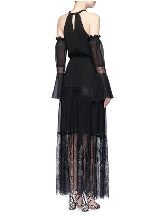 Back View - Click To Enlarge - Nicholas - Eyelash lace panel chiffon dress