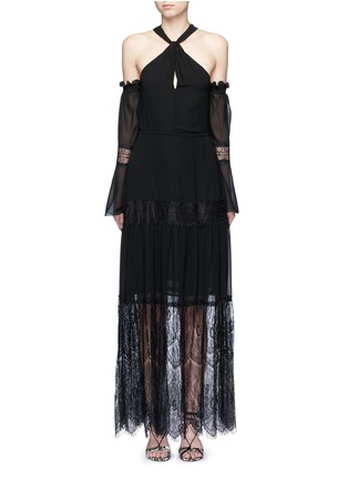 Main View - Click To Enlarge - Nicholas - Eyelash lace panel chiffon dress