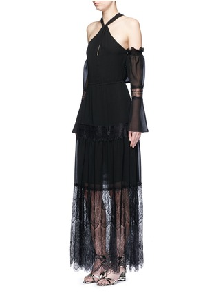Figure View - Click To Enlarge - Nicholas - Eyelash lace panel chiffon dress