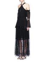 Eyelash lace panel chiffon dress