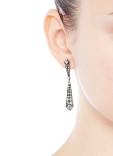 LULU FROST 'Brigitte' glass stone silver plated drop earrings