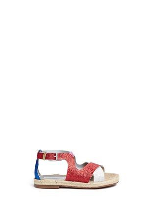 Main View - Click To Enlarge - Stella Mccartney Kids - 'Raspberry' colourblock metallic glitter kids sandals