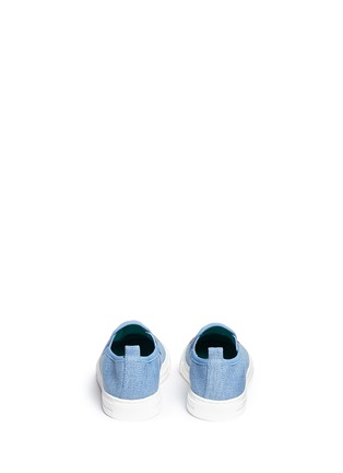 Back View - Click To Enlarge - Stella Mccartney Kids - 'Leo' face appliqué denim kids slip-ons