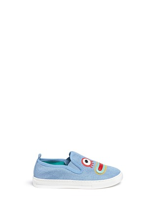 Main View - Click To Enlarge - Stella Mccartney Kids - 'Leo' face appliqué denim kids slip-ons