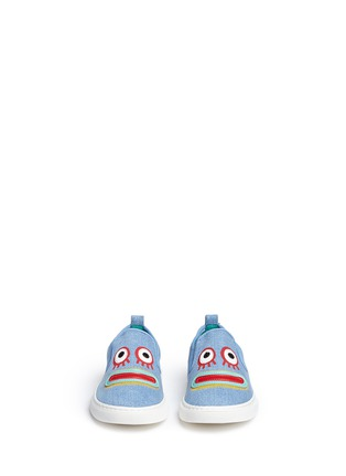 Figure View - Click To Enlarge - Stella Mccartney Kids - 'Leo' face appliqué denim kids slip-ons