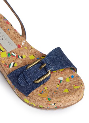 Detail View - Click To Enlarge - Stella Mccartney Kids - 'Linda' paint splatter cork wedge denim kids sandals