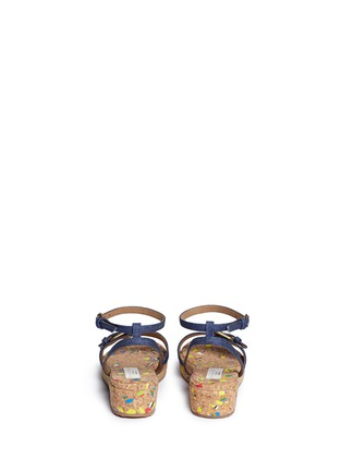 Back View - Click To Enlarge - Stella Mccartney Kids - 'Linda' paint splatter cork wedge denim kids sandals