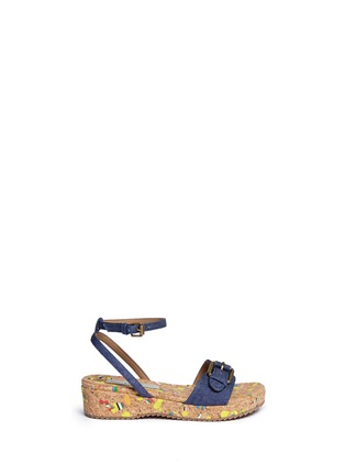 Main View - Click To Enlarge - Stella Mccartney Kids - 'Linda' paint splatter cork wedge denim kids sandals